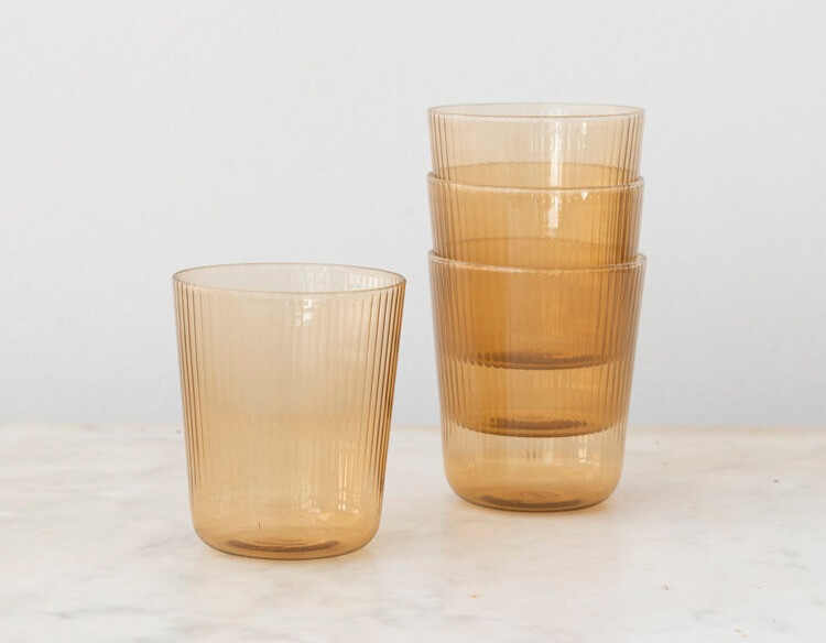 Sand Ribbed Water Glass