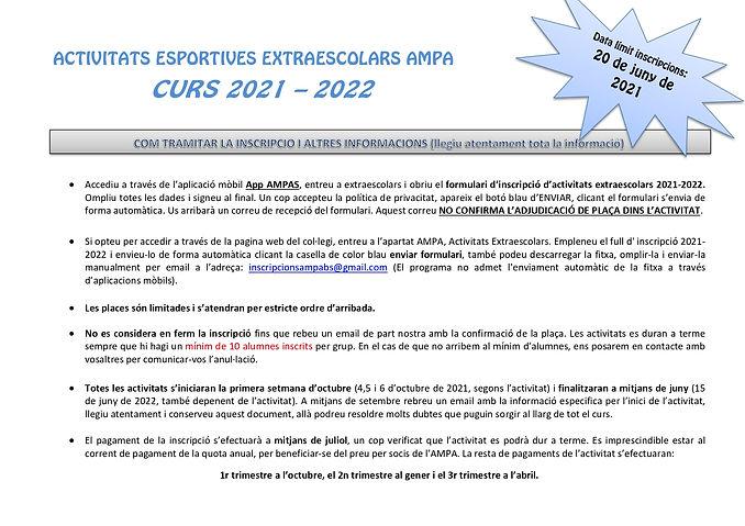 Normativa Extraescolars AMPA CURS 2021 2