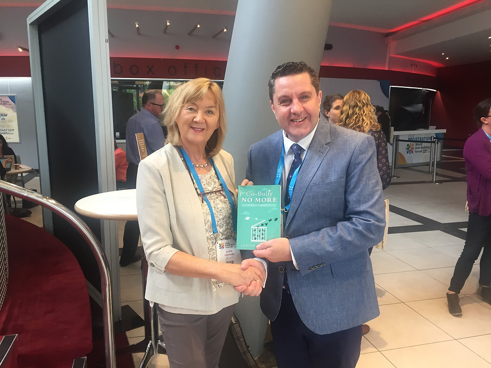 Prof. James O'Higgins Norman congratulated me on my book Co-Bully No More at the wabf2019 UNESCO Chair on Tackling Bullying in Schools and Cyberspace.