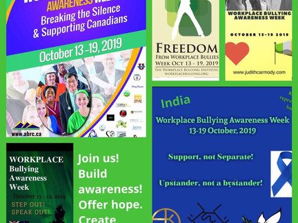 I am delighted to be Founder Workplace Bullying Awareness Week Ireland 2019 joining USA Canada India