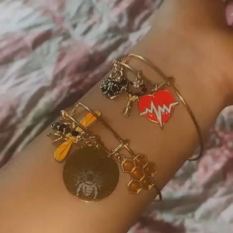Queen Bee and Lock & Key Bracelet
