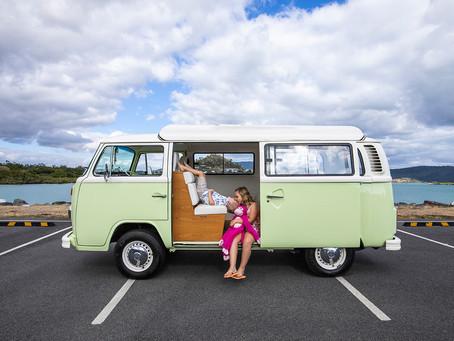 Jessica and the kids with Harriet the Kombi Van!