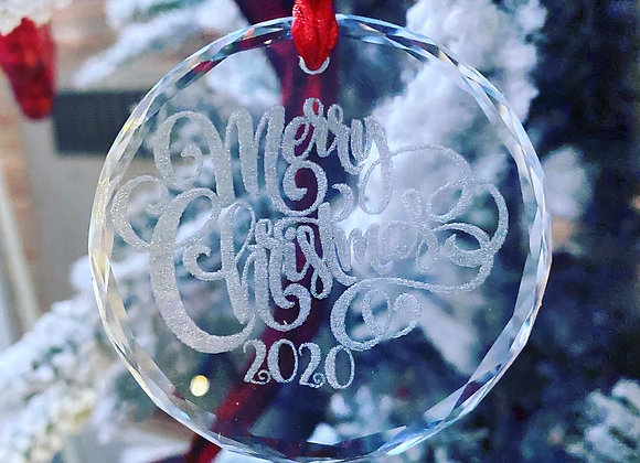 Crystal Glass Merry Christmas 2020 Ornaments