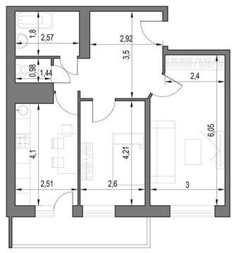 ЖК Логика. Планировка Двухкомнатная квартира.