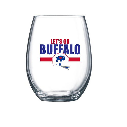 Let's Go Buffalo Stemless Wine Glass