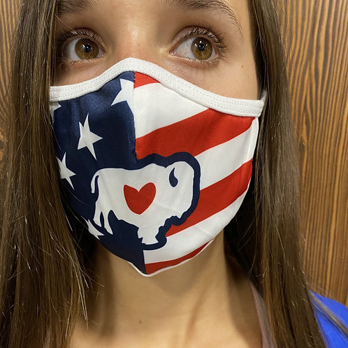 American Flag Earloop Face Mask (buffalo in middle)