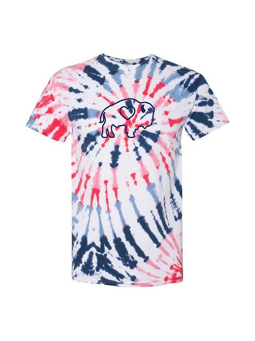 Patriotic Outline Tie Dye T-Shirt