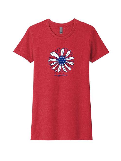 Patriotic Flower Ladies T-Shirt