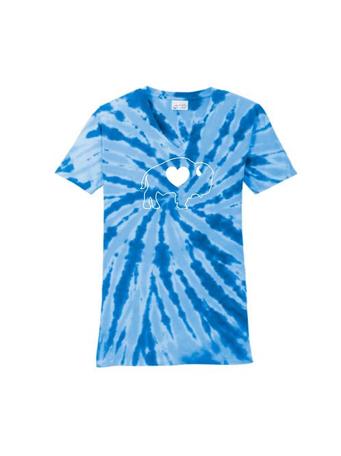 Royal Blue Tie Dye V-Neck