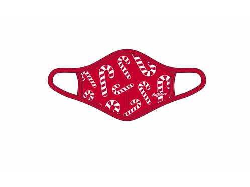 Red Candy Cane Adult Face Mask