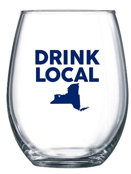Drink Local Stemless Wine Glass