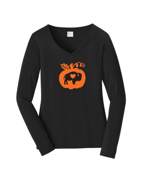 Pumpkin Long Sleeve V-Neck
