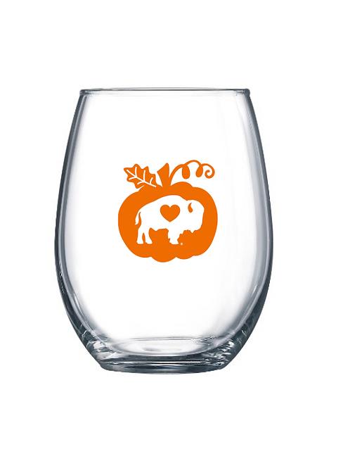 Pumpkin Stemless Wine Glass