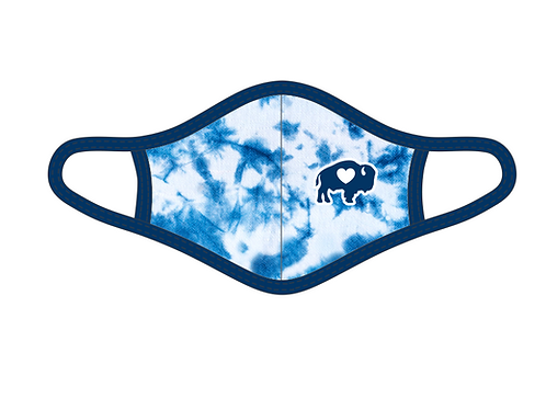 YOUTH Blue/White Tie Dye Face Mask