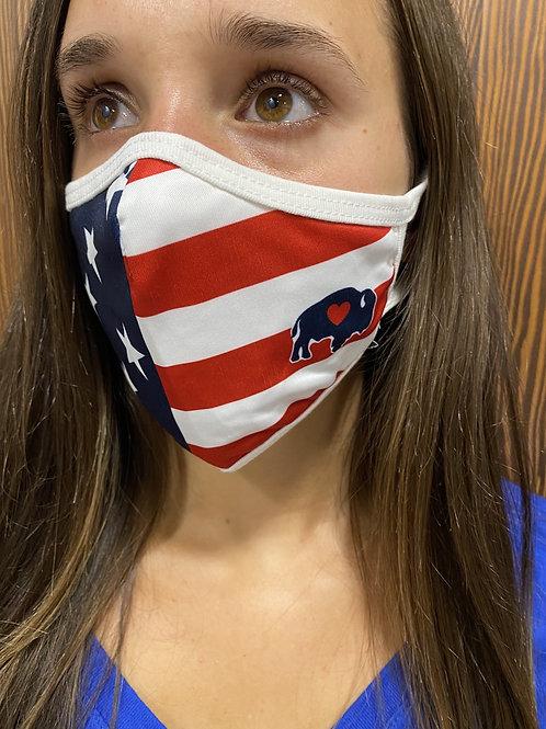 American Flag Face Mask (buffalo left side)