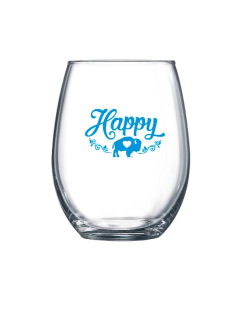 Happy Stemless Wine Glass