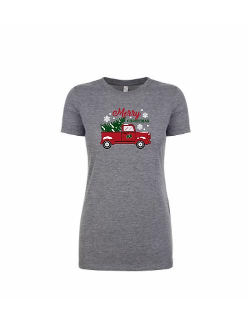 Christmas Tree Truck Ladies T-Shirt