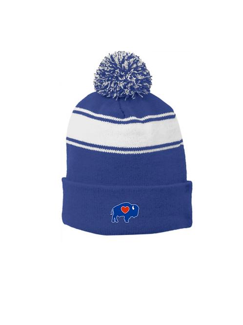 Winter Striped Pom Hat Blue