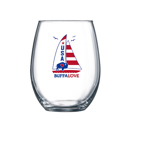 Sailboat Stemless Wine Glass