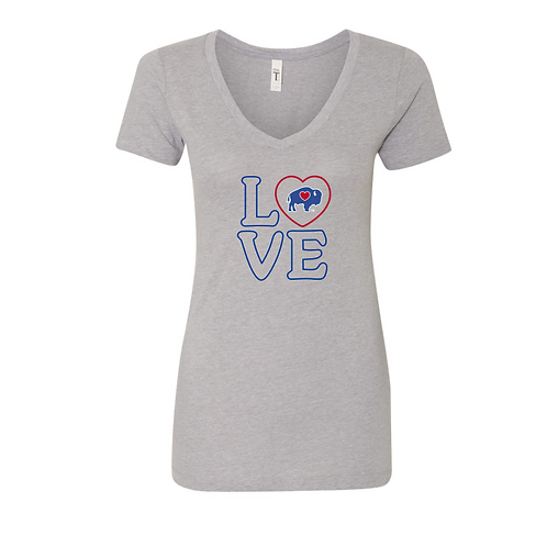 BuffaLove Women's Heart V-Neck