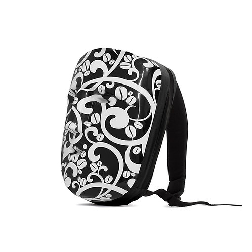 MAYAB glossy black and floral white pattern / black