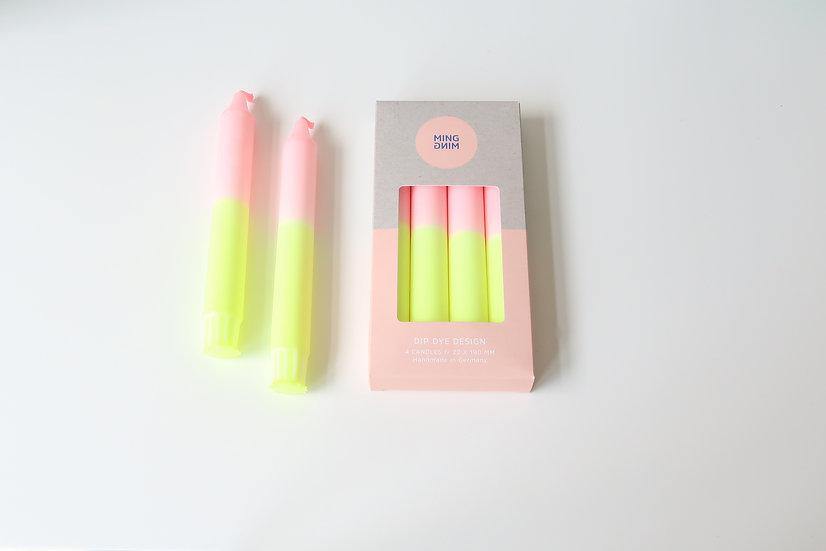 Dip Dye kaarsen | neon geel & roze | MM16