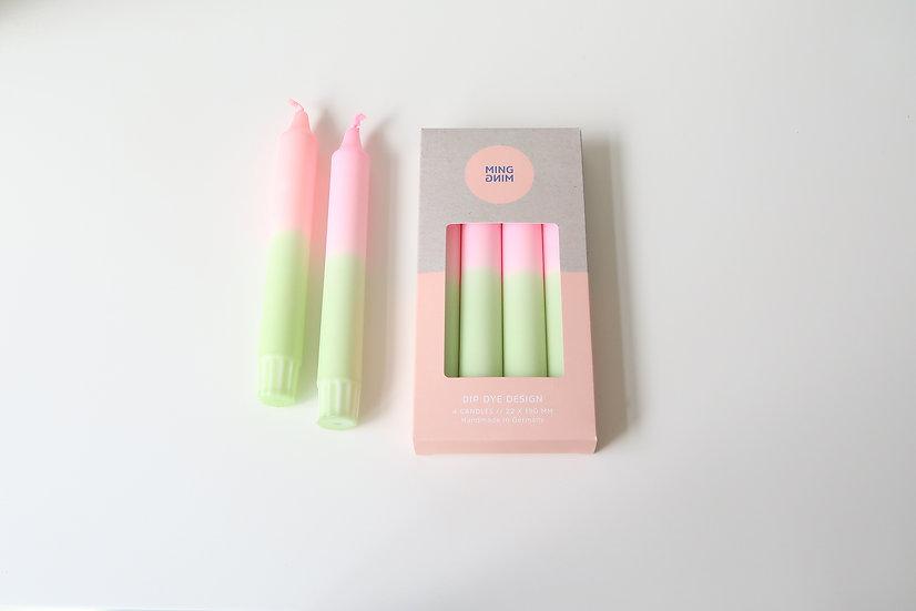 Dip Dye kaarsen   pistasch & roze   MM43
