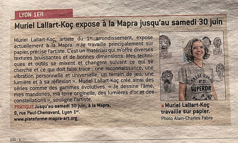 article d epresse Muriel Lallart-Koç, portrait, visage, figure, points, pois, encre papier, exposition visage, peinture portrait