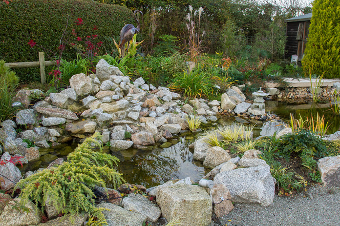Waterfall, promontary and day lily planting behind
