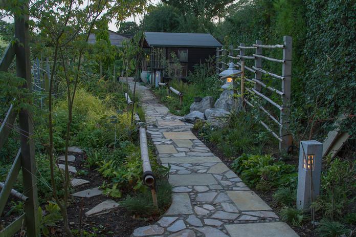 Tea Garden on a summer's evening, with lights illuminated