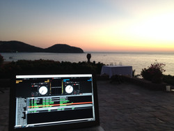My dj booth for a wedding in Zihuatenajo, Mexico