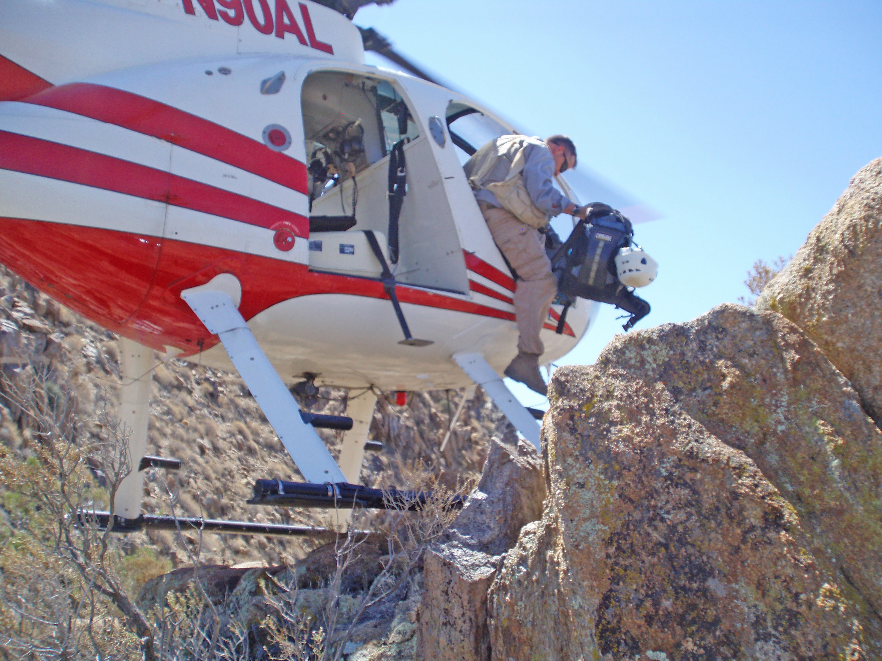 GE Banding, Moreno Butte, Jeff Wells departing Helo, 2007