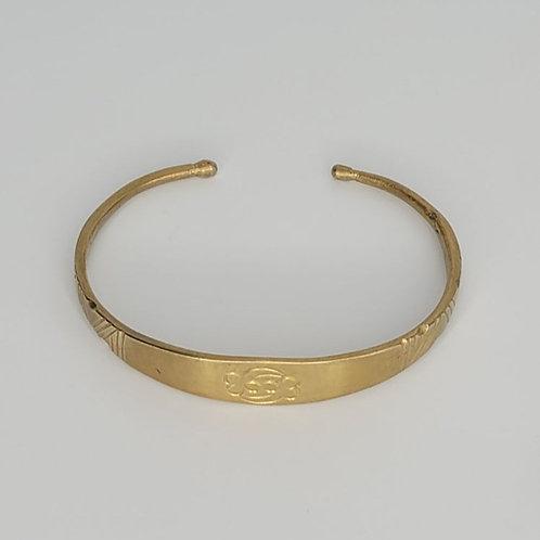 Gold Brass Bracelet- Gye Nyame