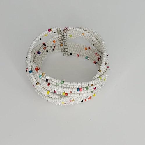Bead and Wire Cuff- White