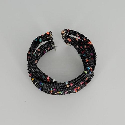 Bead and Wire Cuff- Black