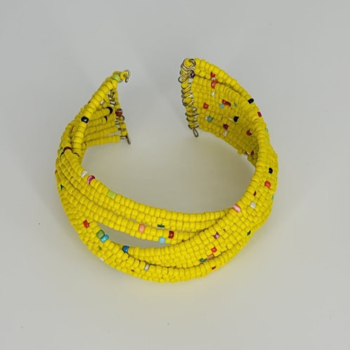 Bead and Wire Cuff- Yellow