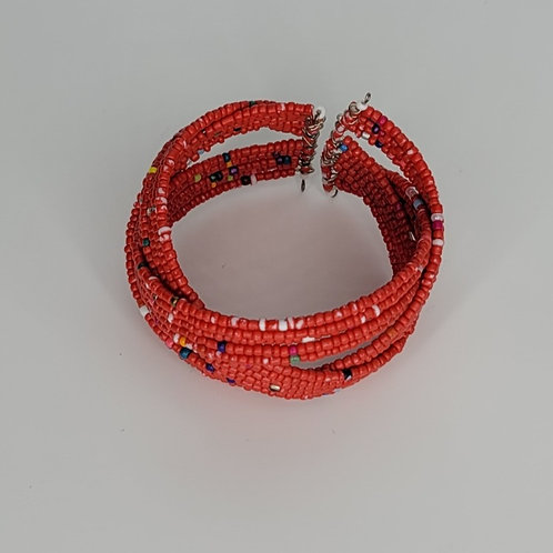 Bead and Wire Cuff- Red
