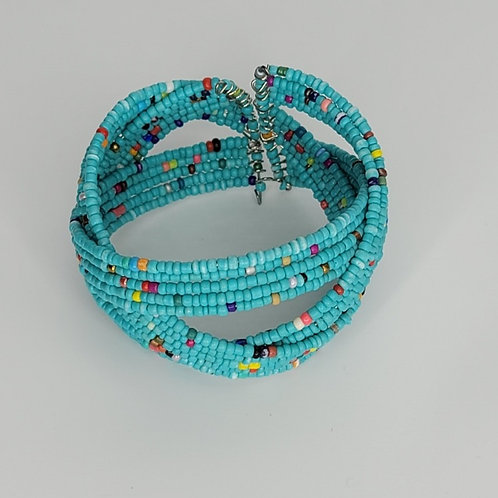Bead and Wire Cuff- Turquoise