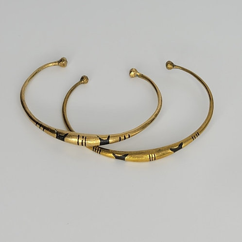 Gold Brass Bracelet- Ashanti Stool (set of 4)