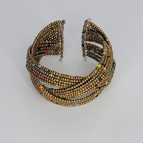 Bead and Wire Cuff- Bronze