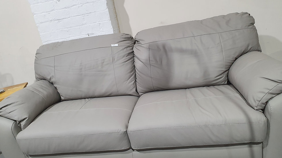 Merkle leather/Faux leather 3 seater light grey sofa