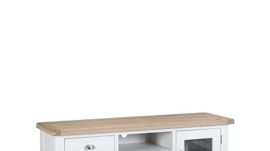 Harrow Ready Assembled Large TV Unit - fits up to 70 inch TV - White/oak