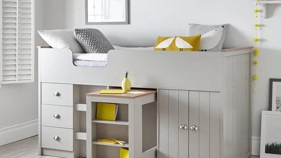 Atlanta Mid Sleeper Bed with Desk and Storagein Grey