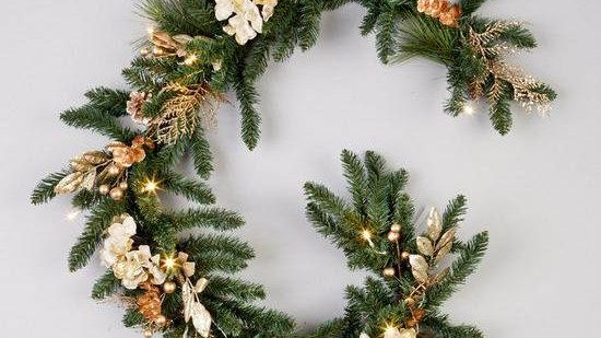 Pre-Lit Hydrangea Christmas Garland in Gold – 180 cm