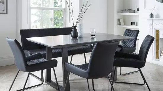 Bronx 160 cm Concrete Effect Dining Table With 1 Bench plus 4 Chairs