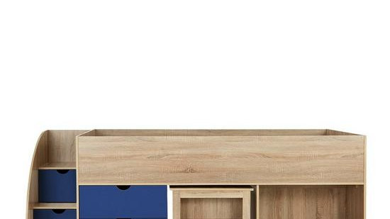 Mico Mid Sleeper Bed with Pull-Out Desk andStorage in Oak Effect and Blue