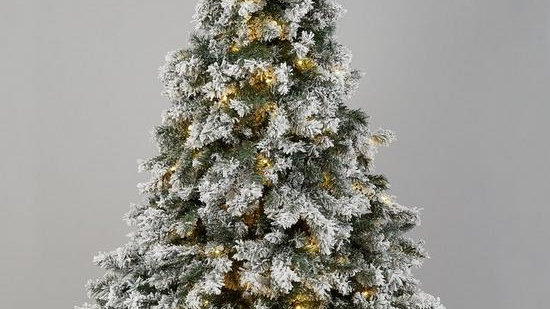 7ft Flocked Pre-lit Downswept Pine Christmas Tree