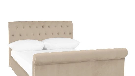 Eva Fabric Scroll Bed Frame in Champagne
