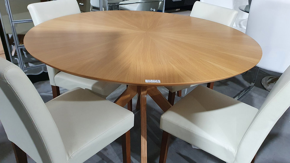 New Starburst 120 Cm Round Dining Table In Oak Veneers