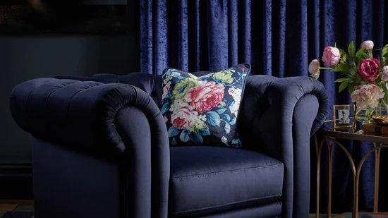 Laurence Llewelyn-Bowen Cheltenham Fabric Armchair in Navy